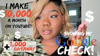 Download I Make $10,000 A Month On JUST Youtube   Showing My Checks + $1,000 Giveaway & Charity News!! Video