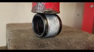 Download What happens when you press crush a carbon fiber, marble and aluminum ring? Video
