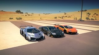 Download Lamborghini CENTENARIO vs VENENO vs AVENTADOR SV LP750-4 Drag Race | Forza Horizon 3 Video