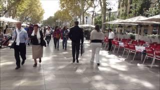 Download A Walk along La Rambla of Barcelona from Pl. Catalunya to the Port, including Boqueria Video