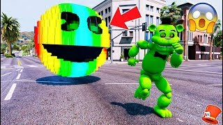 Download GIANT RAINBOW PACMAN vs SLIME FREDDY! (GTA 5 Mod For Kids FNAF RedHatter) Video