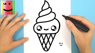 How To Draw Cute Ice Cream Bowl With Love Heart Happy Drawings