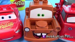 Download Mater n' Lightening McQueen Swim Racing! Bubble Bath + Rip Racers with Disney Cars Toys HobbyKidsTV Video