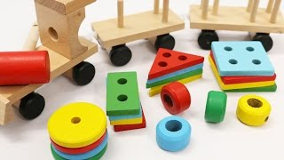 Download Learn Shapes & Colors for Children with Wooden Train Toy Video