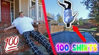 Download 100 LAYERS OF SHIRTS BACKFLIP CHALLENGE! Video
