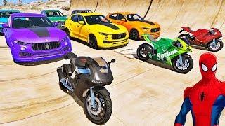 Download CARROS e MOTOS com HOMEM ARANHA e SUPER HERÓIS! Desafio de Super Carros e MOTOS na Rampa - IR GAMES Video