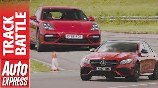 Download Mercedes-AMG E63 S vs Porsche Panamera Turbo: 1,145bhp heavyweight track battle Video
