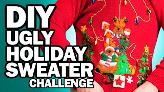 Download DIY Ugly Holiday Sweater Challenge - Man Vs Corinne Vs Pin Video