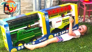 Download BRUDER TOYS Traktor Combine harvester - Live UNBOXING | Kids videos | Video