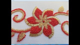 Download hand embroidery hand embroidery design :flower with long beads. Video