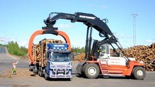Download Svetruck TMF 28-21 unloading Volvo FH12 6x2 Timber Truck Video