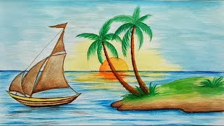 Download How to draw scenery of Island with water colour step by step Video