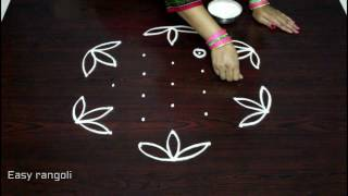 Download easy rangoli designs with 7x4 dots || simple kolam designs with dots || muggulu designs with dots Video