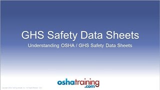 Download Free OSHA Training Tutorial - Understanding GHS Safety Data Sheets (SDS's) Video