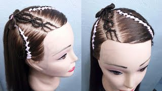 Download Trenzas cruzada en diadema / peinado para niña Video
