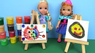 Download Art CLASS ! Elsa and Anna toddler at School - Barbie is teacher - Paintings - Colors Video