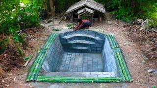 Download Build House By Bamboo And Swimming Pool front of House. Full Video Video