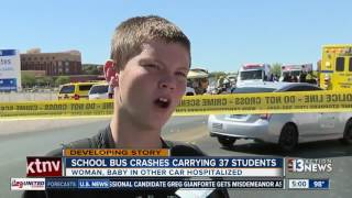 Download School Bus carrying 37 students crash into car Video