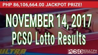 Download PCSO Lotto Results Today November 14, 2017 (6/58, 6/49, 6/42, 6D, Swertres & EZ2) Video