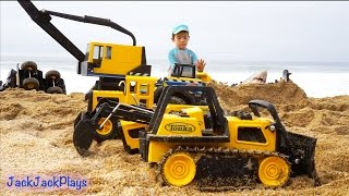 Download Construction Toys for Kids in Action at the Beach: Big Tonka Truck Collection Digging Video