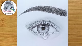 Download How to draw an eye with teardrop for Beginners || EASY WAY TO DRAW A REALISTIC EYE || Video