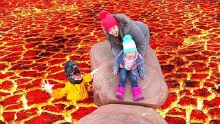 Download Lava Monster!! THE FLOOR IS LAVA CHALLENGE (at the park) Video