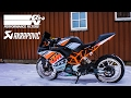 KTM RC 125 Akrapovic Exhaust with K&N Air Filter Installed! Soundcheck - Before & After!