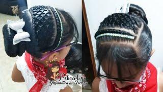 Download Peinados infantil \ trenza tejida en malla con dona Video