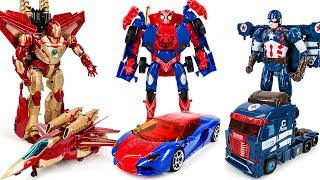 Download Ko Transformers Lockdown Spider Man Jetfire Iron Man Galvatron Captain america Car Robots Toys Video