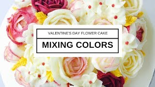 Download Mixing Colors for Valentine's Day flower cake NO RECIPE Video