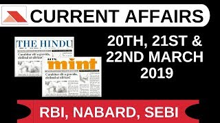 Download Daily Current Affairs | March 20th, 21st & 22nd for RBI, SEBI, SBI, NABARD, IBPS Video
