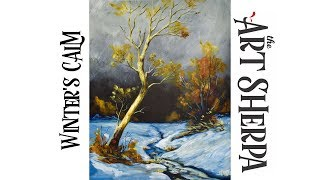 Download How to paint with Acrylic on Canvas Winter's Calm Landscape Video