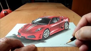 Download How to Draw 3D car, Drawing Ferrari Car, 3D Trick Art Graphic Video