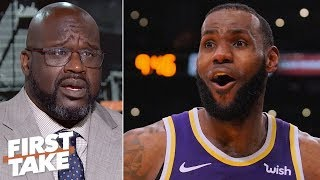 Download Shaq predicts LeBron will be on the Lakers' Mt. Rushmore if he 3-peats with AD | First Take Video
