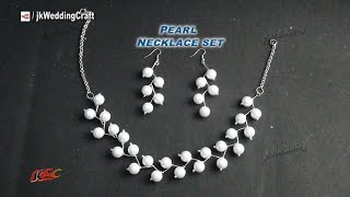Download DIY Pearl Necklace Earring Set | Gift Idea, Easy, Inexpensive jewelry making | JK Wedding Craft 049 Video