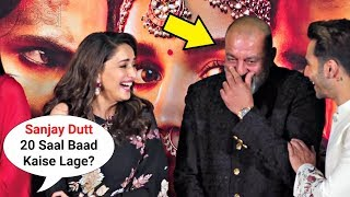 Download Madhuri Dixit BLUSHES When Asked About Ex Bf Sanjay Dutt At Kalank Trailer Launch Video