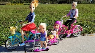 Download BIKES & LOL Surprise ! Elsa and Anna toddlers - park playing adventure Video
