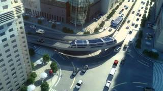 Download Idea of future transportation - Straddling Bus in China Video