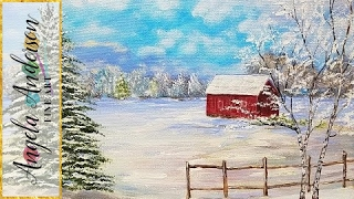 Download Snowy Winter Landscape with Red Barn Acrylic Painting Tutorial for Beginners LIVE #LoveWinterArt Video