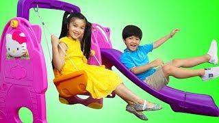 Download Hana & Tony Pretend Play w/ Slide & Swing Playground Ballpit Balls Kids Toys Video