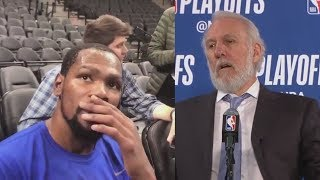 Download Kevin Durant Shocked After Hearing Gregg Popovich's Wife Has Died! Video