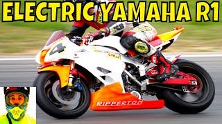 Download 210kW Racing Electric Yamaha R1 vs Petrol Bikes (race track) • Ripperton DIY Electric Motorcycle Video