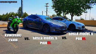 Download 1000cc Sport Bike gets Smoked by Tesla P100D | ZX10R vs P100D vs P90D Video