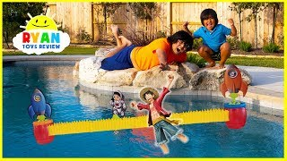 Download Ryan's Rocket Race Game with Loser favorite toy into swimming pool!!!! Video