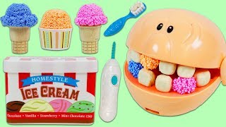 Download Feeding Play Doh Head Baby Drill n Fill Play Foam Ice Cream and Dentist Visit! Video