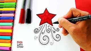 Download Cómo dibujar una Estrella de Navidad (Decorar Tarjetas Navideñas)   How to draw a Christmas Star Video