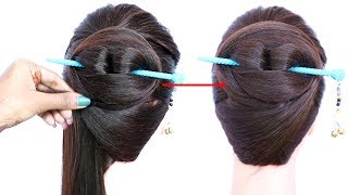 Download chinese bun hairstyle with using bun stick for summer | chignon bun | formal hairstyle | hairstyle Video