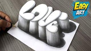 Download Super Facil ► How to Draw 3D LOVE │Como Dibujar Amor 3D │Dibujos de Amor 3D Video