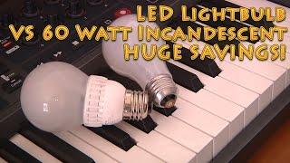 Download LED vs 60 watt light bulb - HUGE savings Video