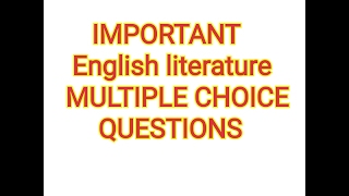 Download English Literature MCQs January 17, 2017 English literature study with Kaushik Video